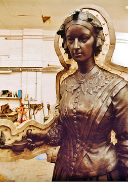 Silicone rubber mould - Florence Nightingale by Arthur George Walker, R.A. 1861-1936 Bronze located in St James, London