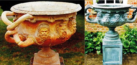 Restored original terracotta urn, large sections of rim and handles missing - Bronze resin copy