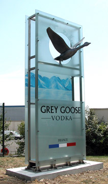 Grey Goose HQ entrance feature - colour changing LEDs - Cognac, France