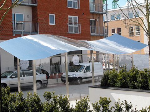 Wave Shelter - 6m - mirror polished roof